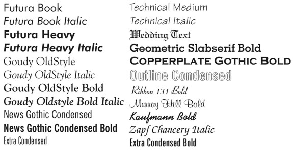 Type Styles for Stamps